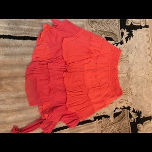 Free People red/pink tiered asymmetrical skirt